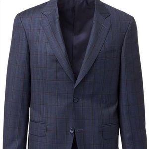 Canali Dark Blue Windowpane Check Wool Suit  52L